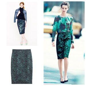 J. Crew metallic floral pencil skirt